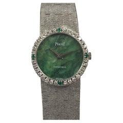 Piaget Tiffany & Co. White Gold Diamond Jadeit and Emerald Ladies Bracelet Watch