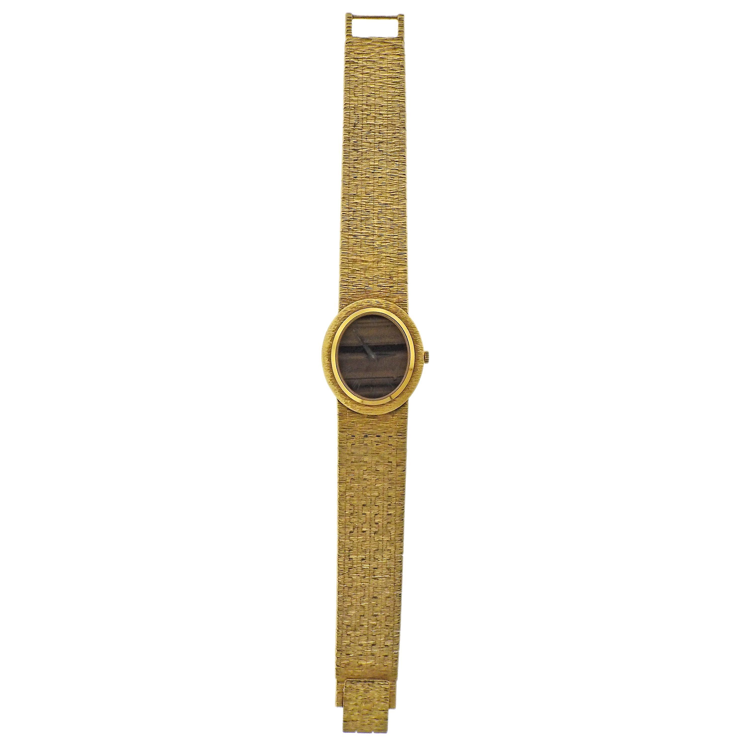 Piaget Tiger's Eye Dial Yellow Gold Classic Wrist Watch