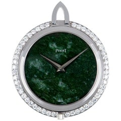 Piaget Very Rare Open Face Pocket Watch Vintage 18 Karat White Gold Jade Dial