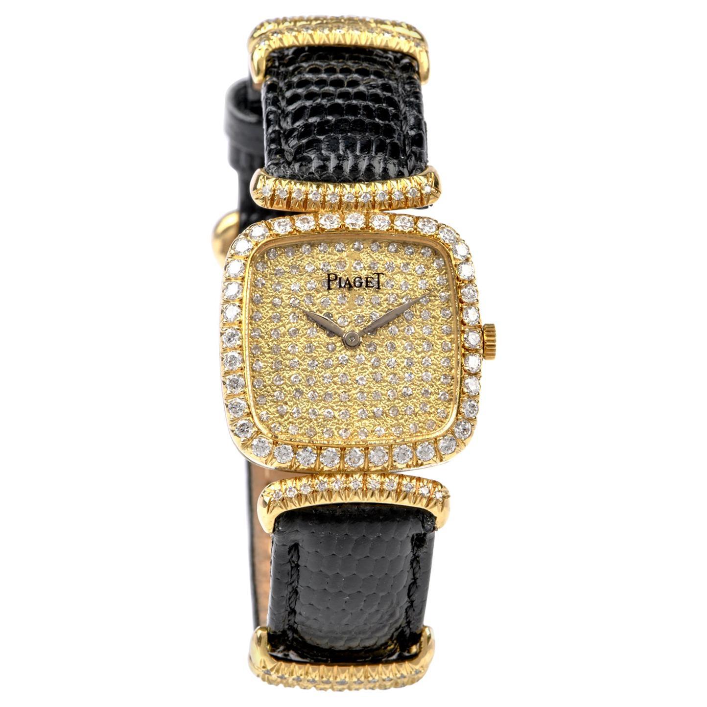 Piaget Vinatge Ladies Diamond Dial Bezel and Stapp Watch
