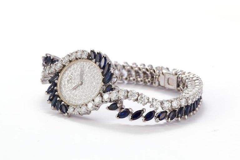 Contemporary Piaget Vintage 1950s Platinum Diamond and Sapphire Ladies Watch For Sale