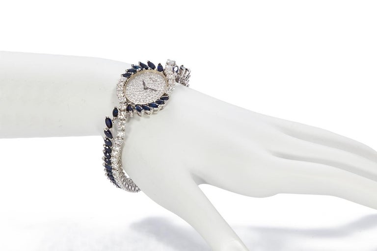Piaget Vintage 1950s Platinum Diamond and Sapphire Ladies Watch For Sale 1