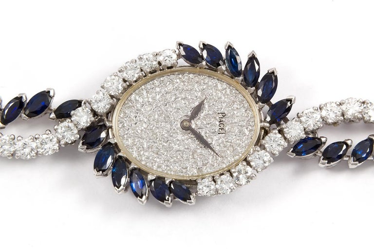 Piaget Vintage 1950s Platinum Diamond and Sapphire Ladies Watch For Sale 2