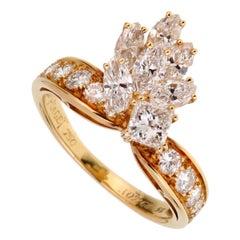 Piaget Vintage Cocktail Diamond Gold Ring