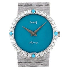 Piaget Vintage Double Name Asprey Turquoise Dial Diamond White Gold Wristwatch