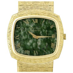 Piaget Vintage Gold Bark Finish Nephrite Jade Dial Automatic Wristwatch