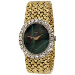 Piaget Vintage Green Malachite Dial Ladies Watch Retailed by Van Cleef & Arpels