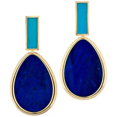 Piaget Vintage Lapis and Turquoise Gold Clip Drop Earrings