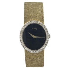 Piaget Vintage Yellow Gold Diamonds and Onyx Dial Ladies Wrist Watch
