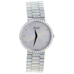 Piaget white gold Diamond Dial and Bezel Mecanique manual Wristwatch
