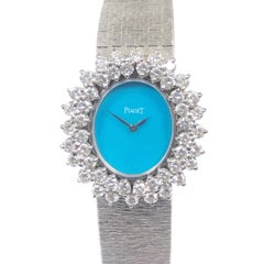 Piaget White Gold Diamonds and Turquoise Dial Ladies Mechanical Wrist Watch