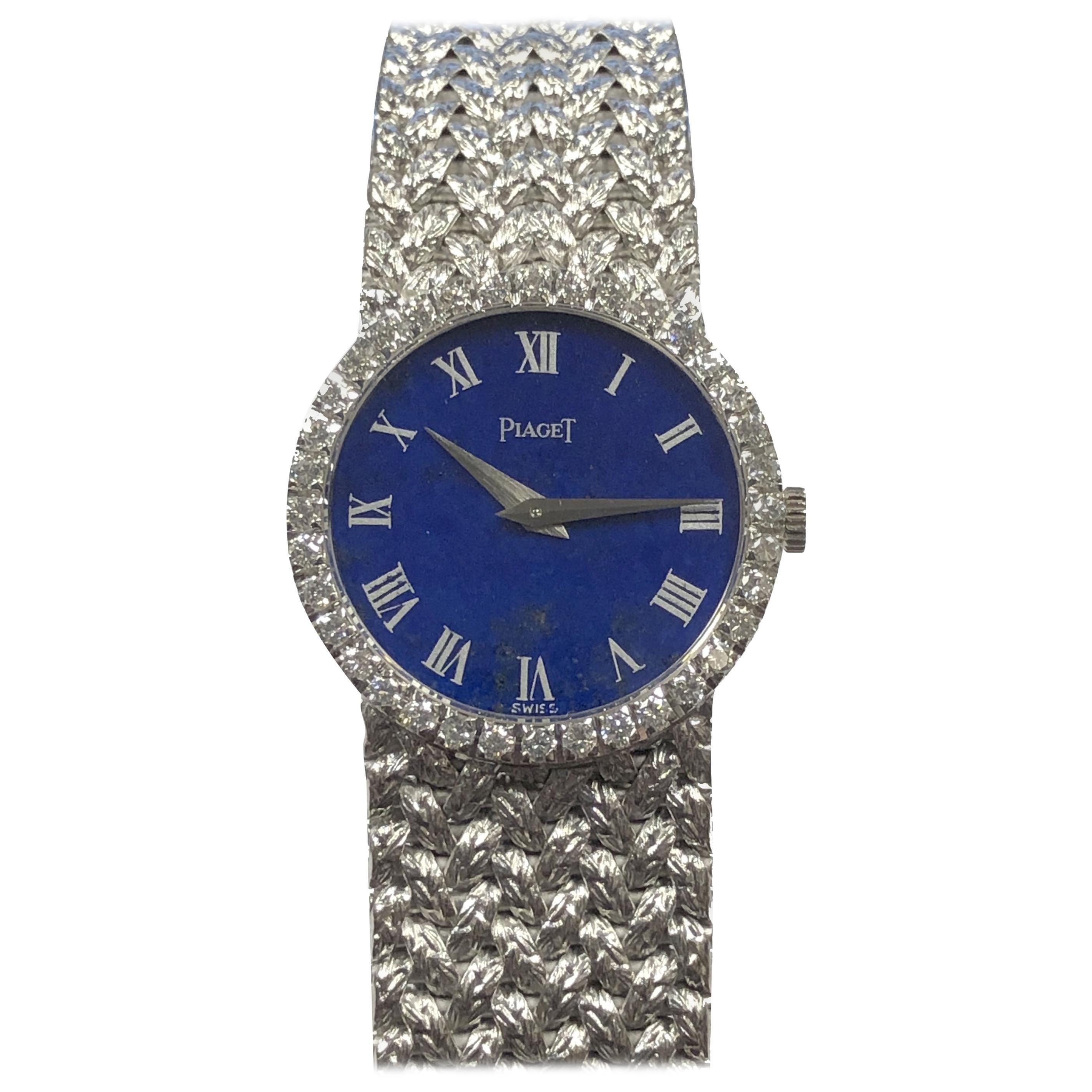 Piaget White Gold Lapis Dial and Diamonds Ladies Mechanical Wrist Watch