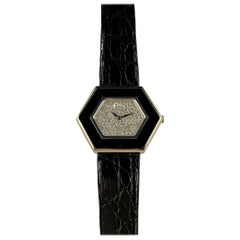 Piaget White Gold Onyx Pave Diamond Dial Manual Wind Wristwatch