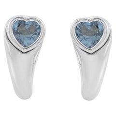 Piaget Women's 18 Karat White Gold Topaz Heart Earrings