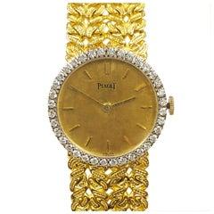 Piaget Yellow Gold and Diamond Ladies Mechanical 1970s Wristwatch