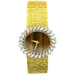 Piaget Yellow Gold Diamond Bezel Tigers Eye Dial Wristwatch Ref 9329A6 - 179549