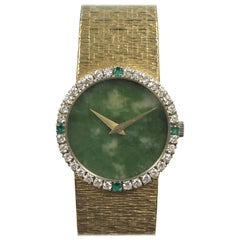 Piaget Yellow Gold Diamond Emerald and Jadeite Dial Ladies Mechanical Wristwatch
