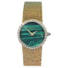 Piaget Yellow Gold Diamonds and Malachite Dial Manual Wind Ladies Wristwatch