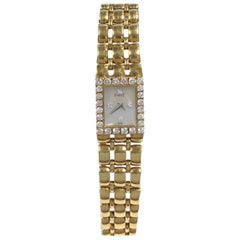 Piaget Yellow Gold Diamonds and Pearl Dial Ladies Quartz Wristwatch