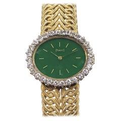 Piaget Yellow Gold Jadite Dial and Diamonds Ladies Wrist Watch