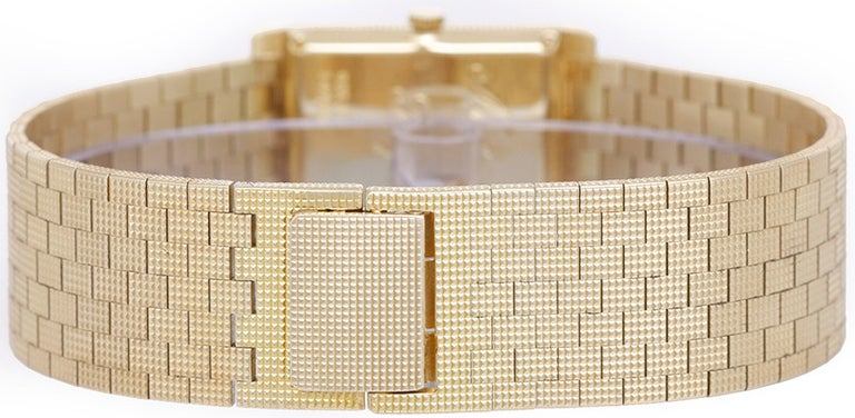 Piaget Yellow Gold Rectangular Dress Manual-Wind Wristwatch In Good Condition In Dallas, TX
