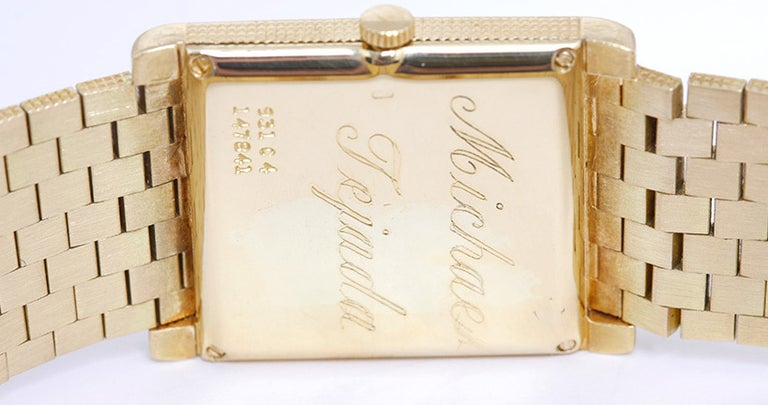Women's or Men's Piaget Yellow Gold Rectangular Dress Manual-Wind Wristwatch