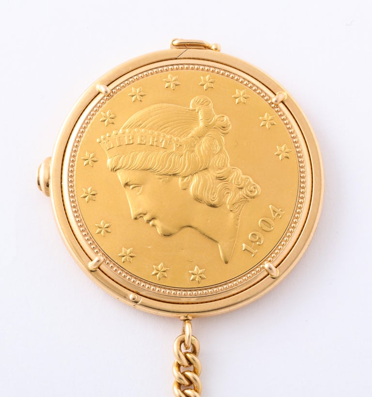 Retro Piaget Yellow Gold Swiss Movement Magic Coin Pocket Watch For Sale