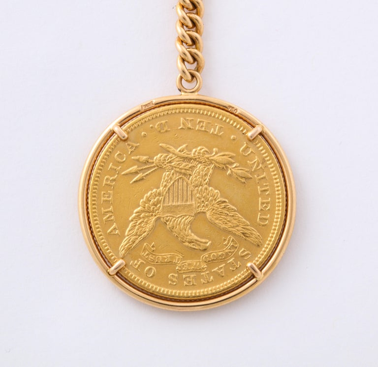 Piaget Yellow Gold Swiss Movement Magic Coin Pocket Watch In Good Condition For Sale In New York, NY
