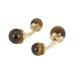 Piaget Yellow Gold Tiger Eye Cufflinks