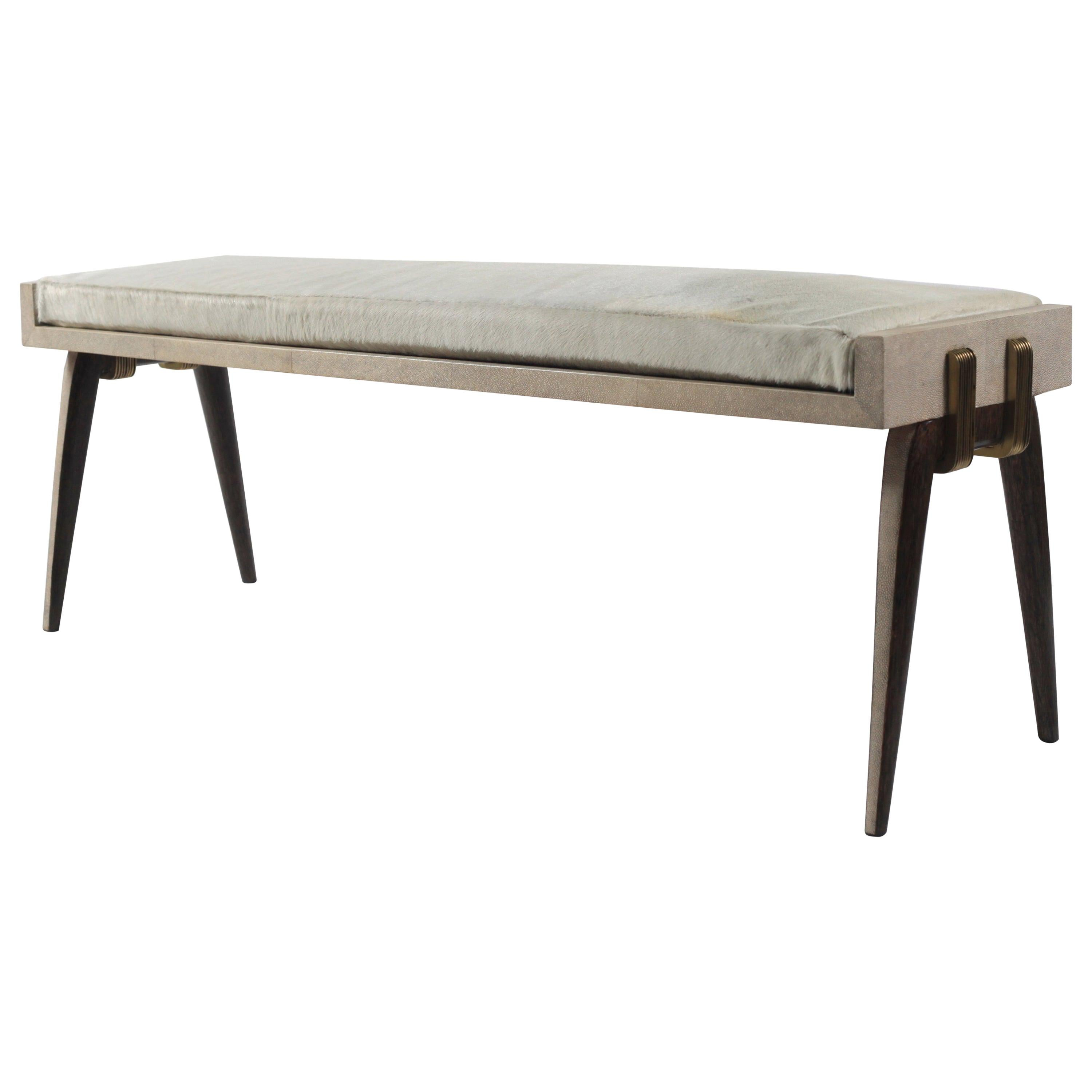 Pianist Bench in Cream Shagreen and Bronze-Patina Brass by R&Y Augousti
