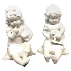 Piano Baby Girls with Toys Bisque Porcelain Figurine Hutschenreuther, 1910s