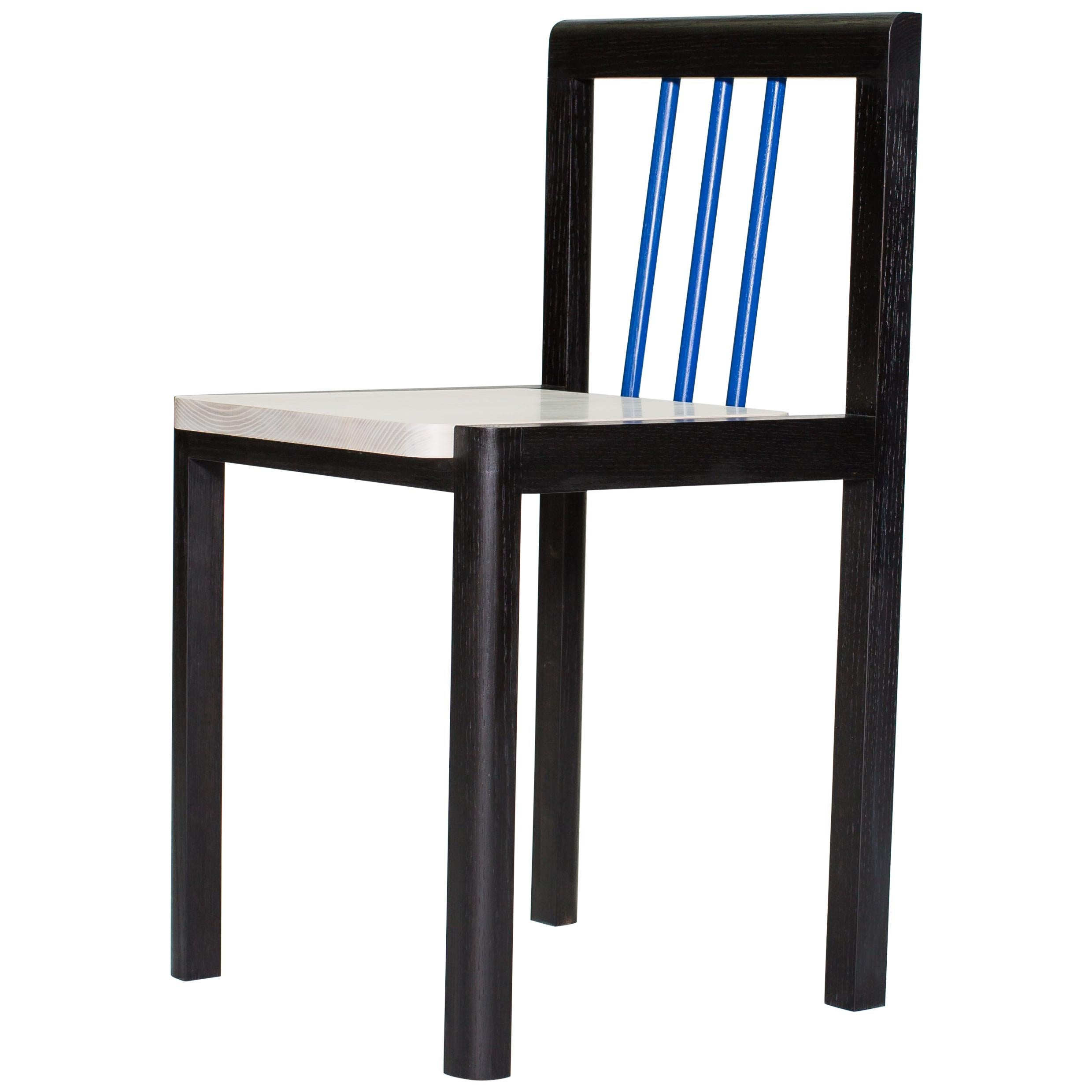"""""""Piano"""" Chair in Blackened, Bleached, and Blue Lacquer Ash by Steven Bukowski"""