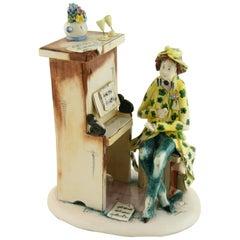 Piano Man Italian Ceramic Folk Art Sculpture by Lino ZamPiva