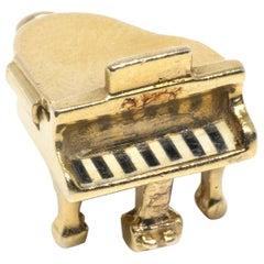 Piano Music Instrument Top Opens 14 Karat Gold Charm