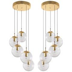 Pair of Brass Staircases Cascades with Five Hand Blown Globes, Glashütte Limburg