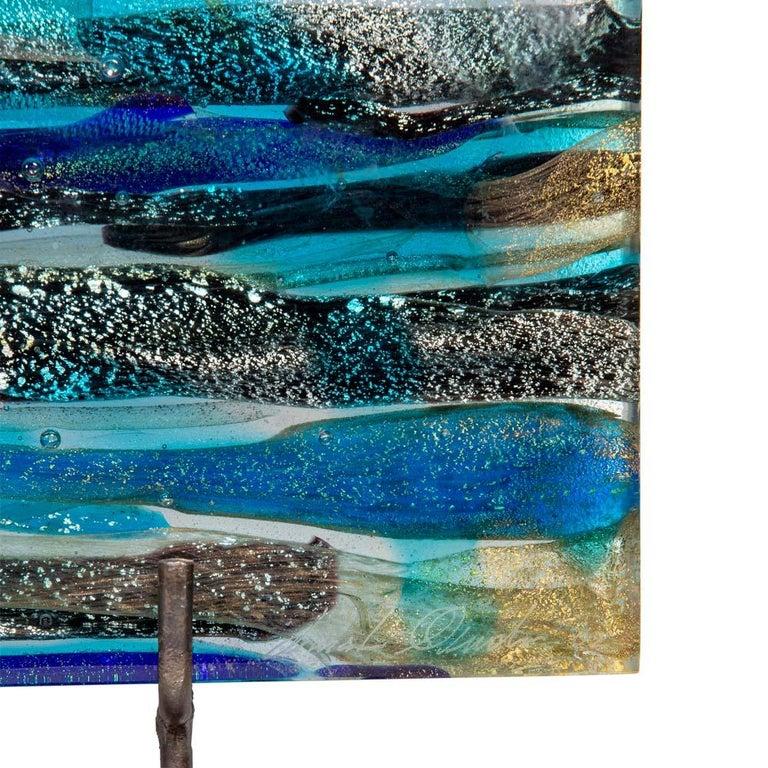 Modern Piastra Art Glass Sculpture by Leonardo Cimolin for Berengo Collection Murano For Sale