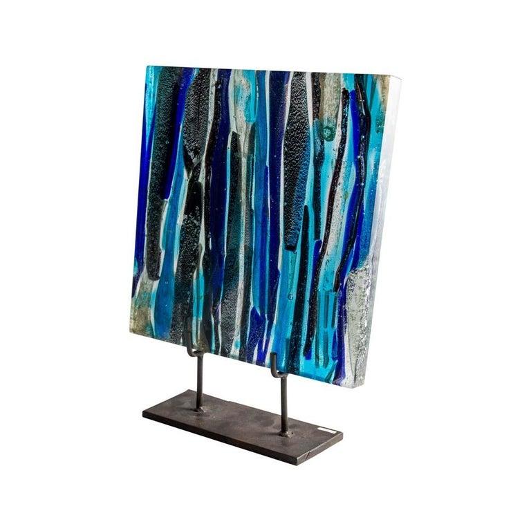 Italian Piastra Art Glass Sculpture by Leonardo Cimolin for Berengo Collection Murano For Sale