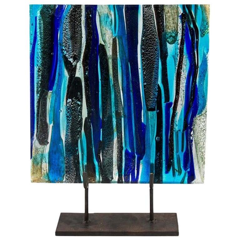 Piastra Art Glass Sculpture by Leonardo Cimolin for Berengo Collection Murano For Sale