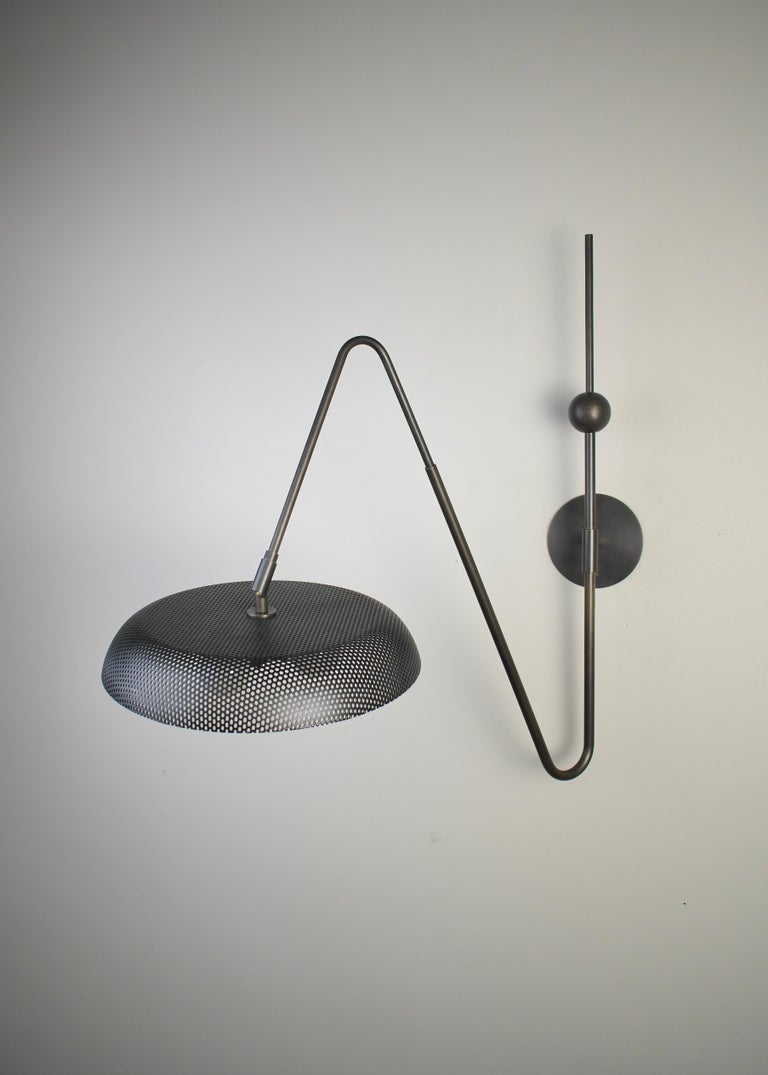 Piatto Wall Light or Sconce in Spun Mesh & Oil-Rubbed Bronze, Blueprint Lighting For Sale 3