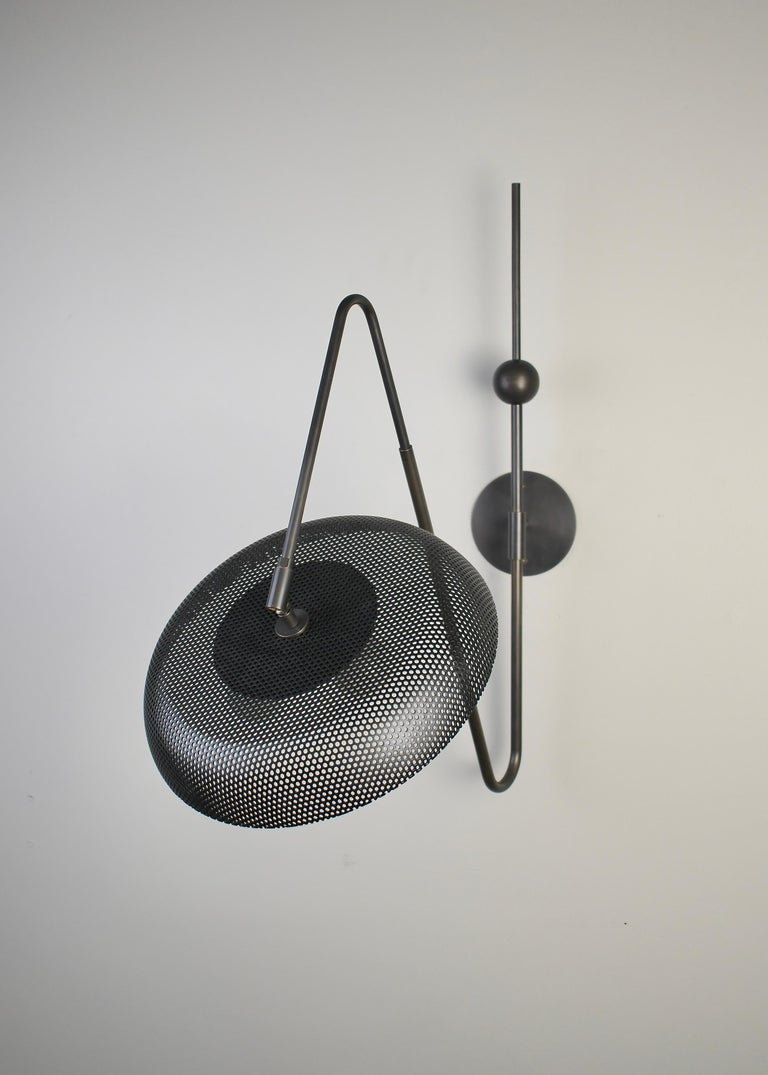 Mid-Century Modern Piatto Wall Light or Sconce in Spun Mesh & Oil-Rubbed Bronze, Blueprint Lighting For Sale