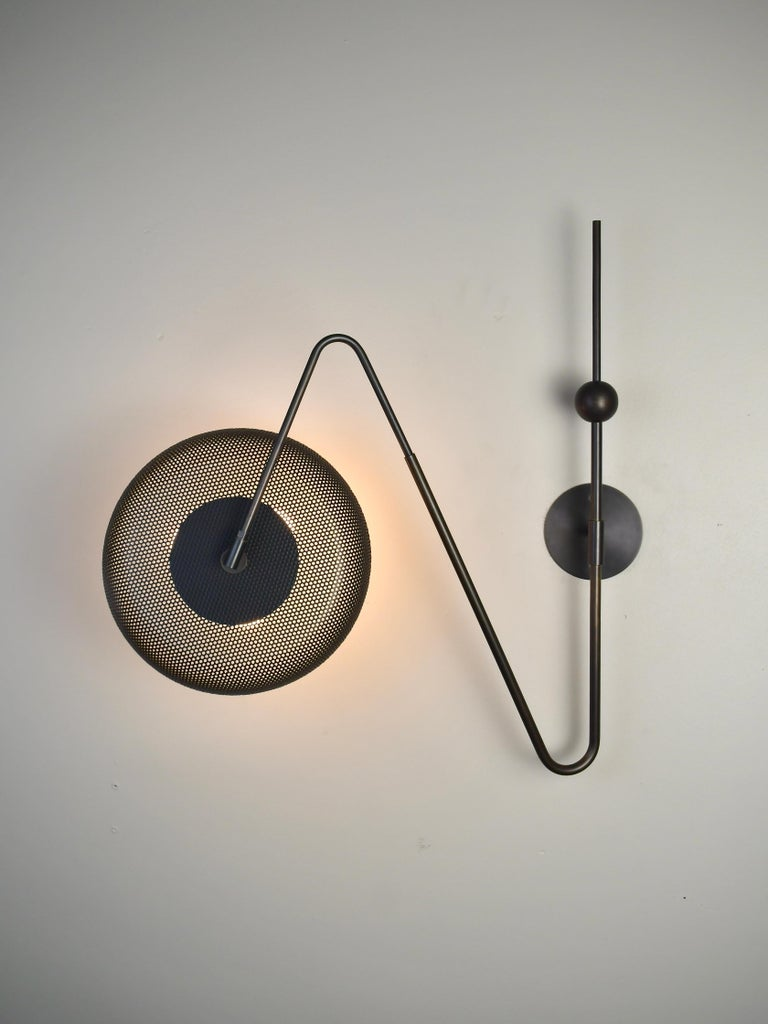 Contemporary Piatto Wall Light or Sconce in Spun Mesh & Oil-Rubbed Bronze, Blueprint Lighting For Sale