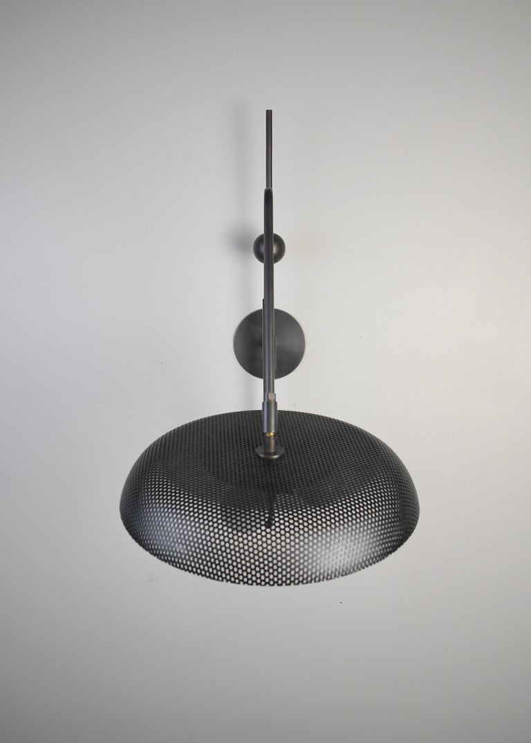 Piatto Wall Light or Sconce in Spun Mesh & Oil-Rubbed Bronze, Blueprint Lighting For Sale 2