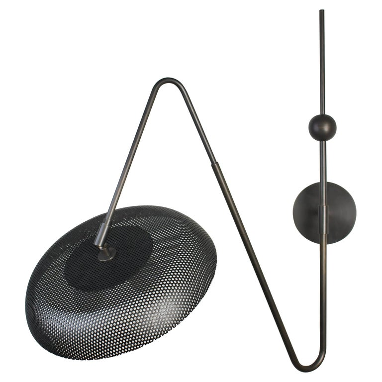 Piatto Wall Light or Sconce in Spun Mesh & Oil-Rubbed Bronze, Blueprint Lighting For Sale