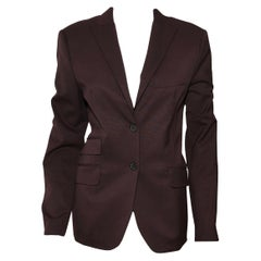 Piazza Sempione Deep Burgundy Notched Collar Blazer