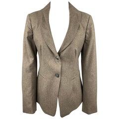 PIAZZA SEMPIONE Size L Taupe Wool Blend Notch Lapel Buttoned Blazer