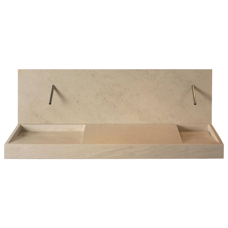 "Caved ""Slope"" Sink in Natural Stone Customizable by Pibamarmi For Sale"