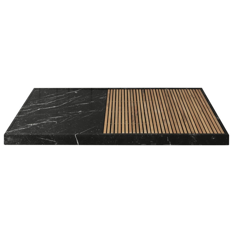 """Shower Tray """"Cambiaro"""" Made of Marble and Wood Customizable For Sale"""