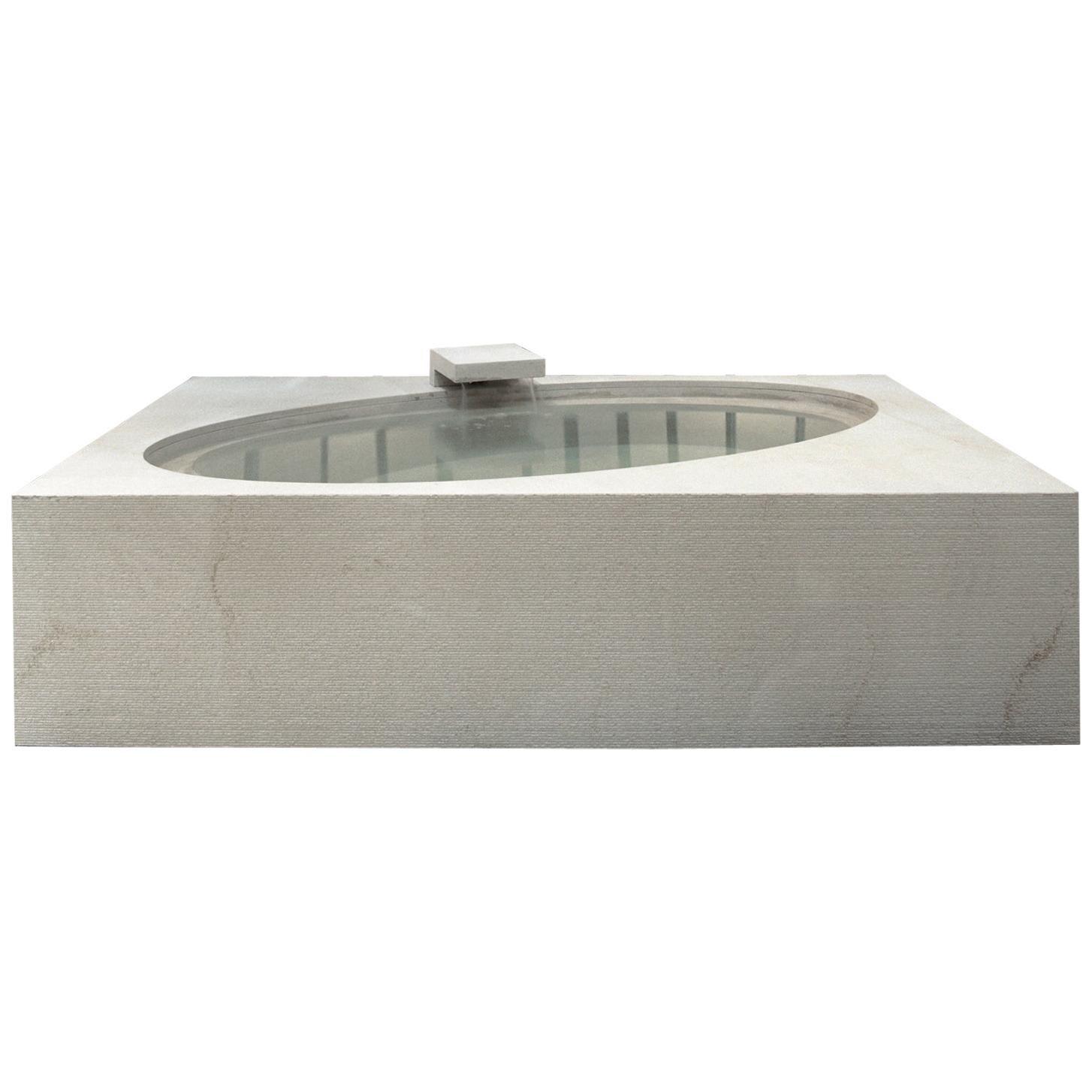 """Wabi"" Caved Bathtub Made of Stone Customizable"