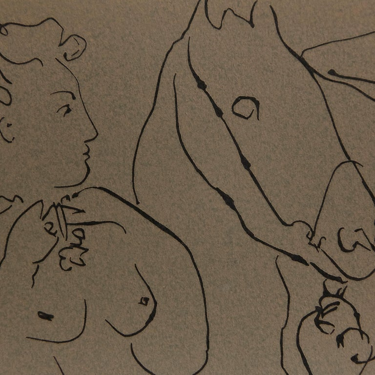 Drawing lithography of Picasso  In good original condition.  Pablo Picasso (1881-1973), was a Spanish painter, sculptor, printmaker, ceramicist, stage designer, poet and playwright who spent most of his adult life in France. As one of the