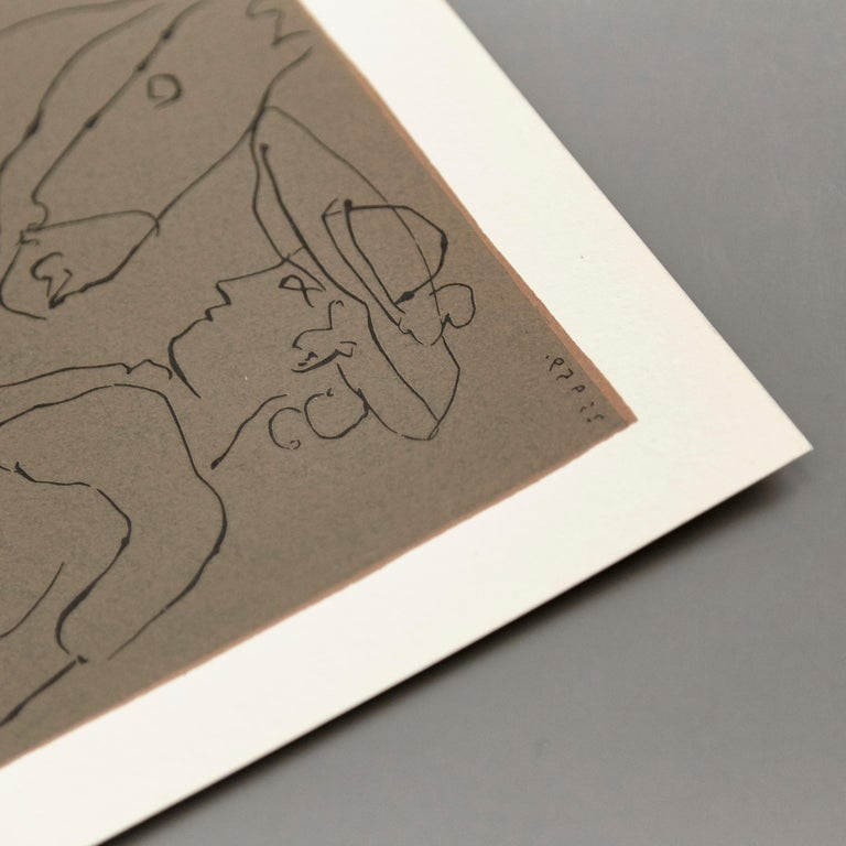 Picasso Drawing Lithography In Good Condition For Sale In Barcelona, Barcelona